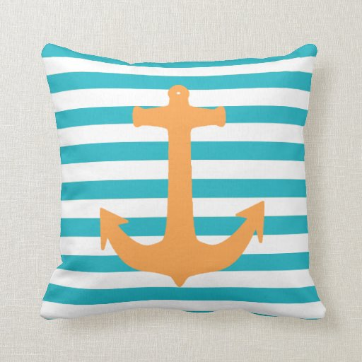Nautical Theme Stripes and Anchor Throw Pillows