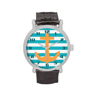 Nautical Theme Stripes and Anchor Wristwatch