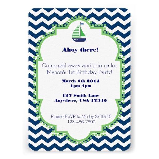 Nautical themed 1st Birthday invitation