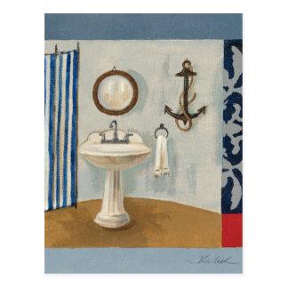 Nautical Themed Bathroom Post Card