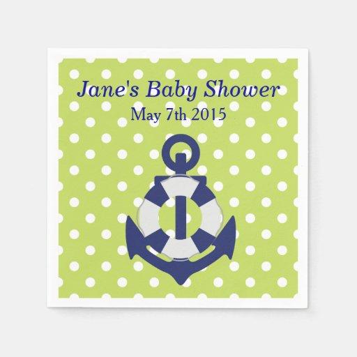 Nautical Themed Boy Baby Shower Napkins Disposable Napkin