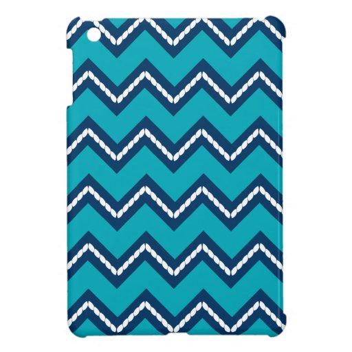 Nautical Themed Chevron Print Teal Case For The iPad Mini