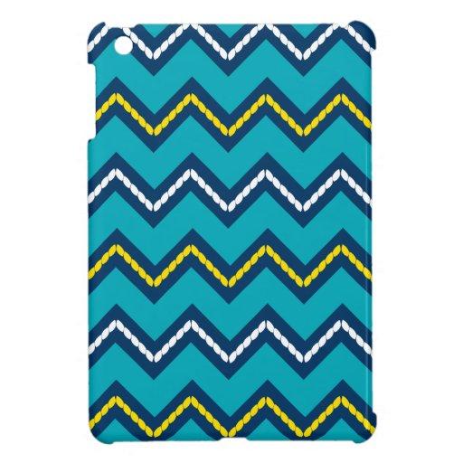 Nautical Themed Chevron Print Teal & Yellow iPad Mini Covers