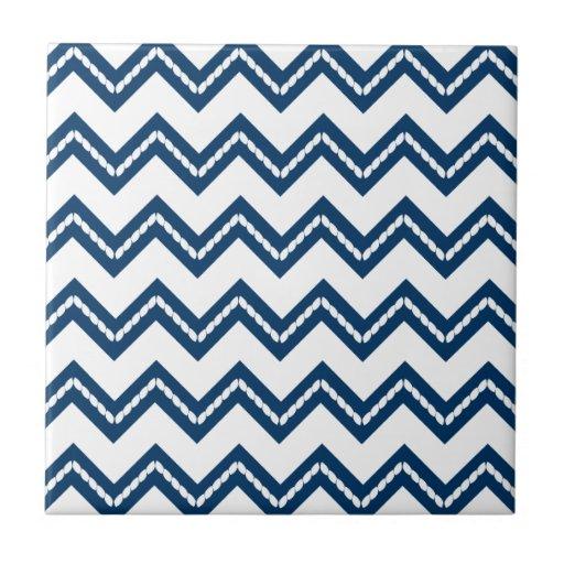 Nautical Themed Chevron Print Ceramic Tile