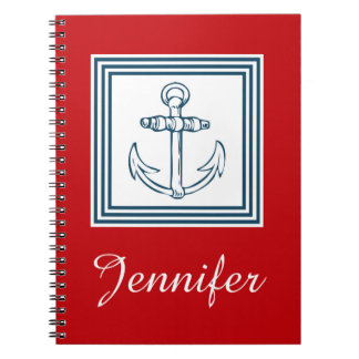 Nautical themed design spiral note book