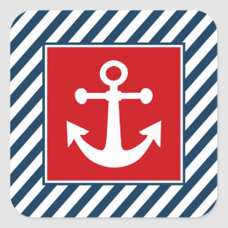 Nautical themed design square sticker