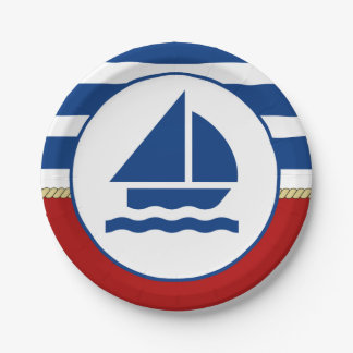 Nautical Themed Sail Boat 7 Inch Paper Plate