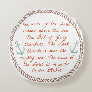 Nautical Themed Scripture Pillow Round Cushion