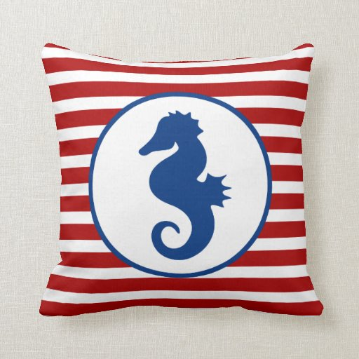 Nautical Themed Seahorse Throw Pillows