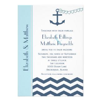 Nautical Themed Wedding Invitations Blue Personalized Invite