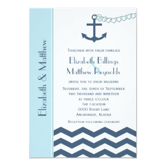 Nautical Themed Wedding Invitations Blue