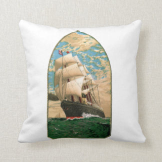 Nautical Themed with Vintage Sailboat Cushion