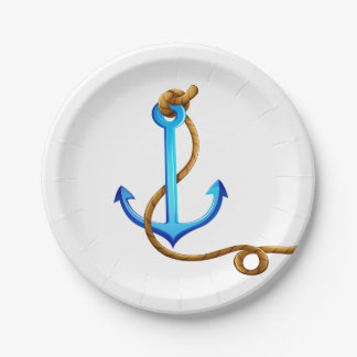 Nautical Turquoise Ship Anchor Blue Wedding Party Paper Plate