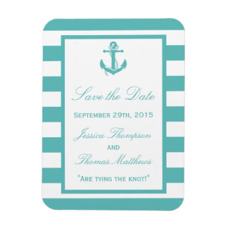 Nautical Turquoise Stripe Anchor Save The Date Rectangular Photo Magnet