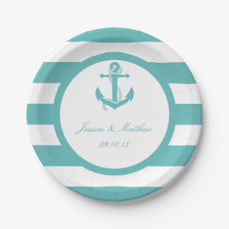 Nautical Turquoise Stripe Anchor Wedding 7 Inch Paper Plate