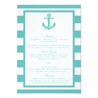 Nautical Turquoise Stripe Anchor Wedding Menu Card