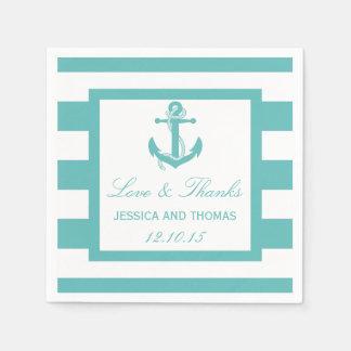 Nautical Turquoise Stripe Anchor Wedding Napkins Paper Napkin