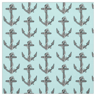 Nautical Vintage teal blue Anchor illustration Fabric