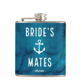Nautical Watercolor Brides Mates with Anchor Hip Flask