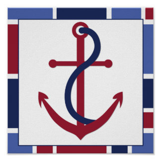 Nautical Wave Nursery Anchor Poster