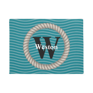 Nautical Waves and White Rope Monogram Doormat