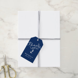 Nautical Wedding Anchor & Rope Navy Blue Thank You