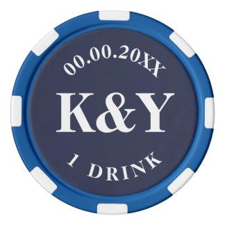 Nautical wedding custom drink token poker chips