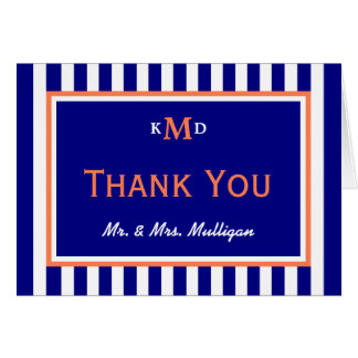 Nautical Wedding Thank You Card Coral and Navy