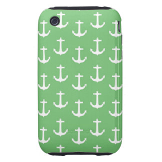 Nautical White Anchors against Lime Green iPhone 3 Tough Cases