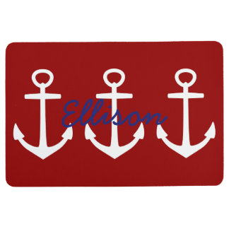 Nautical White Anchors on Classic Red Personalized Floor Mat