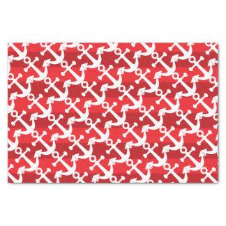 Nautical | White Anchors | Red Stripes Tissue Paper