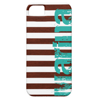 nautical white and wooden stripes with grunge name iPhone 5 covers