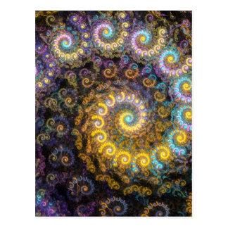 Nautilus fractal beauty postcard