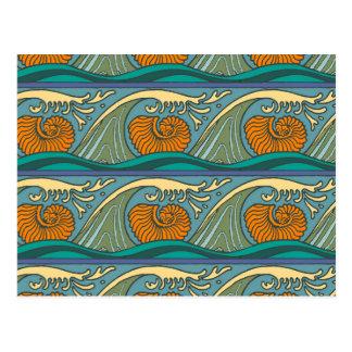 Nautilus Seashell Pattern Nouveau Postcard
