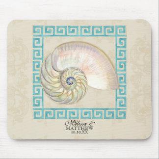 Nautilus Shell Watercolor Greek Key Damask Beach Mouse Pad