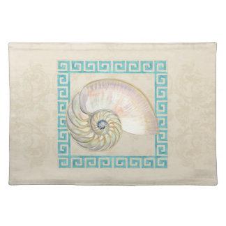 Nautilus Shell Watercolor Greek Key Damask Beach Placemat