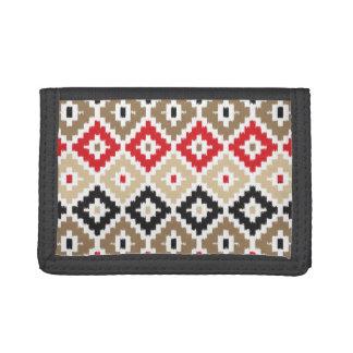 Navajo Aztec Tribal Print Ikat Diamond Pattern Tri-fold Wallet