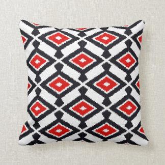 Navajo Ikat Pattern - Dark Red, Black and White Throw Pillow