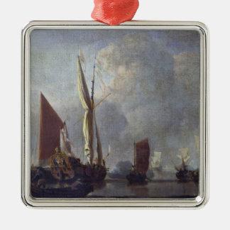 Naval Battle Silver-Colored Square Decoration