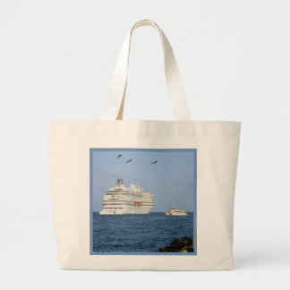 Navigating the Seas Blue Border Large Tote Bag