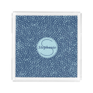 Navy and Baby Blue Monogrammed Dash Marks Acrylic Tray