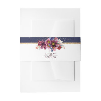 Navy and Gold Burgundy Flowers Elegant Wedding Invitation Belly Band