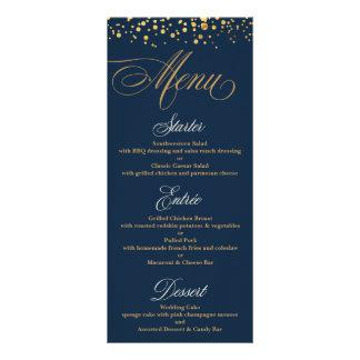 Navy and Gold Glitter Confetti Wedding Menu