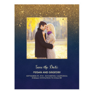 Navy and Gold Glitter Photo Save the Date Postcard
