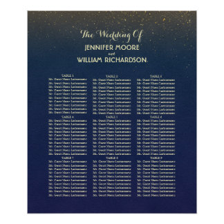 Navy and Gold Glitter Wedding Seating Chart Poster