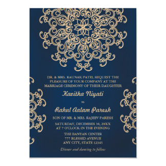 Navy and Gold Indian Inspired Wedding 13 Cm X 18 Cm Invitation Card