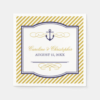 Navy and Gold Nautical Anchor Wedding Monogram Disposable Serviette