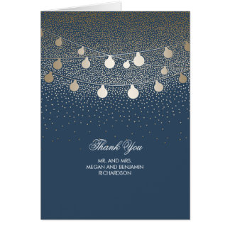 Navy and Gold String Lights Glitter Thank You Note Card