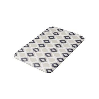 Navy And Ivory Geometric Ikat Tribal Print Pattern Bath Mats