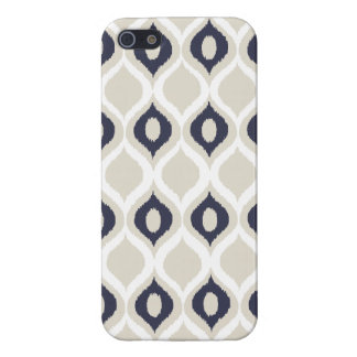 Navy And Ivory Geometric Ikat Tribal Print Pattern Cover For iPhone 5/5S